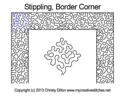 Stippling border & corner quilt pattern