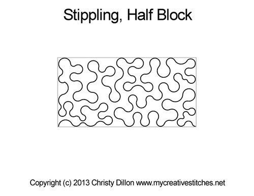 Stippling half block quilting pattern