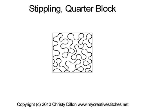 Stippling square quarter block quilting design
