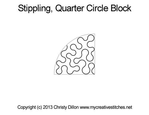 Stippling quarter circle block quilting design