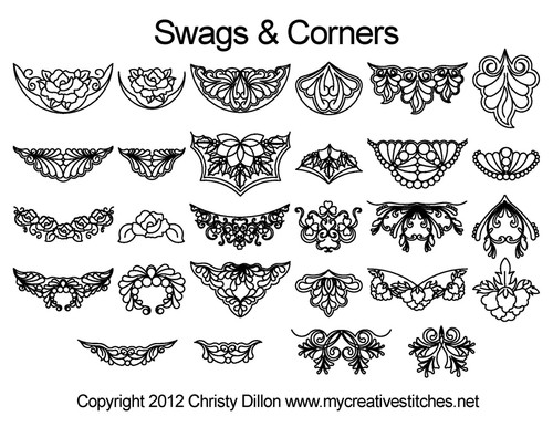 Swags & corners digitized quilting design
