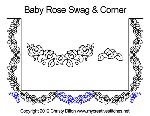 Baby rose swag and corner quilt pattern