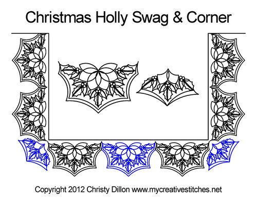 Christmas holly swag & corner quilting design
