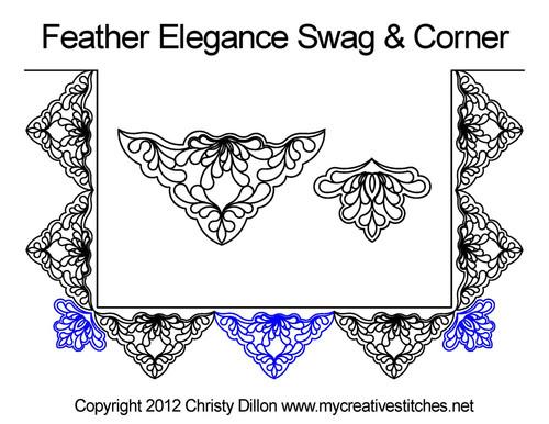 Feather elegance swag & corner quilt designs