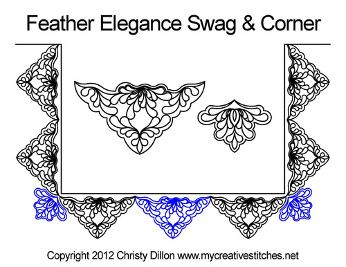 Feather elegance swag & corner quilt designs