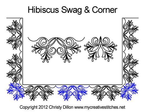 Hibiscus flowers swag & corner quilt pattern