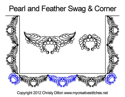 Pearl feather swag & corner quilting