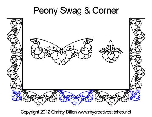 Peony swag & corner quilt pattern