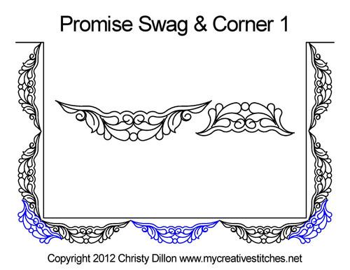Promise swag & corner 1 quilting design