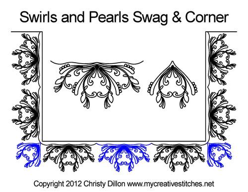 Swirs & pearls swag & corner quilting