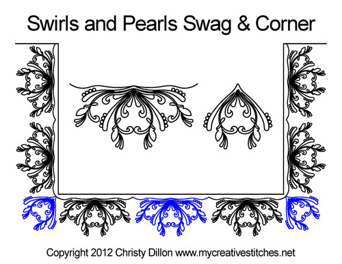 Swirs & pearls swag & corner quilting