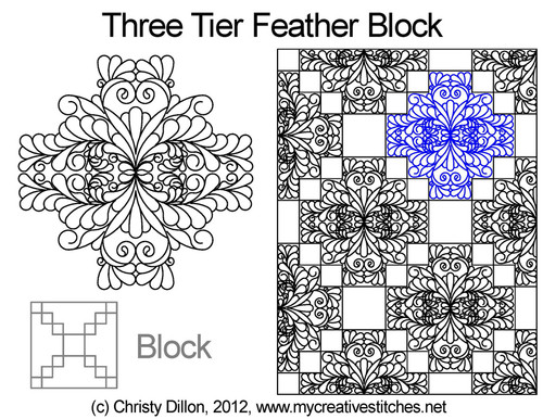 Three tier feather quilting design for blocks