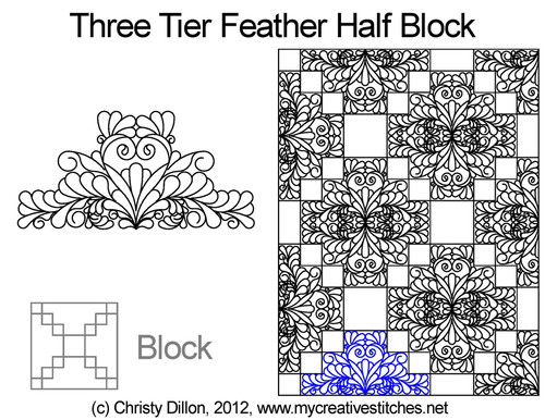 Three tier feather quilting pattern for half block