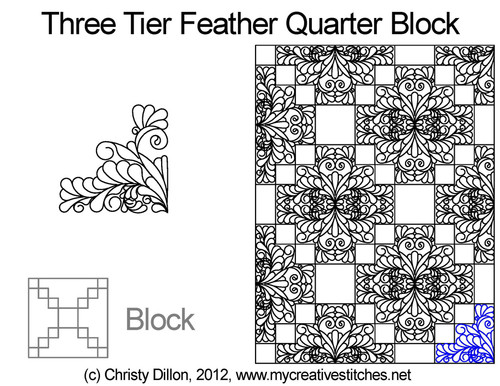 Three tier feather quarter block quilt designs