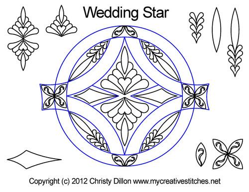 Wedding star round quilt pattern set