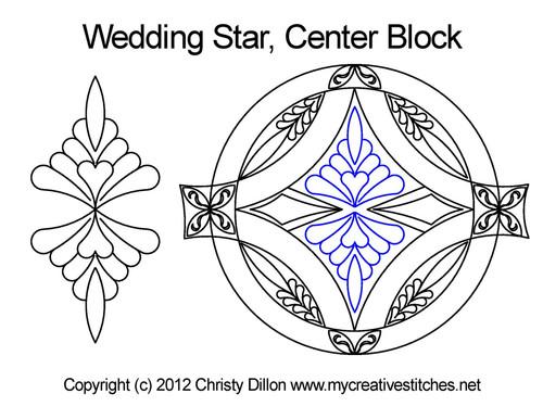 Wedding center quilting design for star blocks