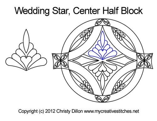 Wedding center quilting design for half blocks