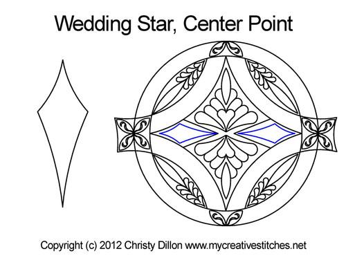 Wedding star center point quilting design