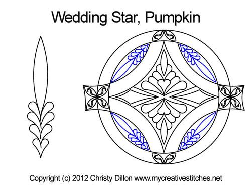 Wedding star pumpkin quilt design