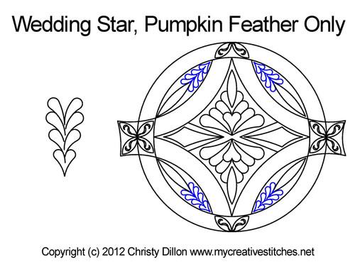 Wedding star pumpkin feather quilt pattern
