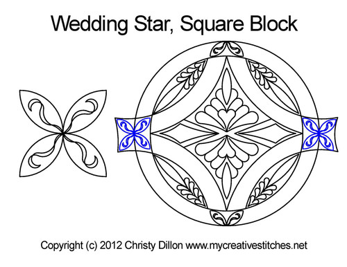 Wedding digital quilting pattern for square block