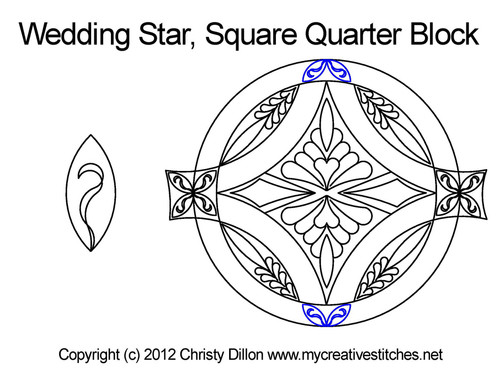 Wedding star square quarter block quilting