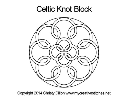 Celtic knot quilting design for blocks