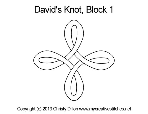 David's knot quilting pattern for block 1