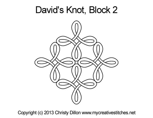 David's knot quilting pattern for block 2