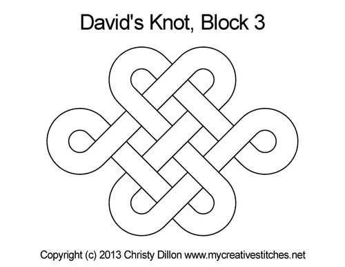David's knot block 3 quilting designs