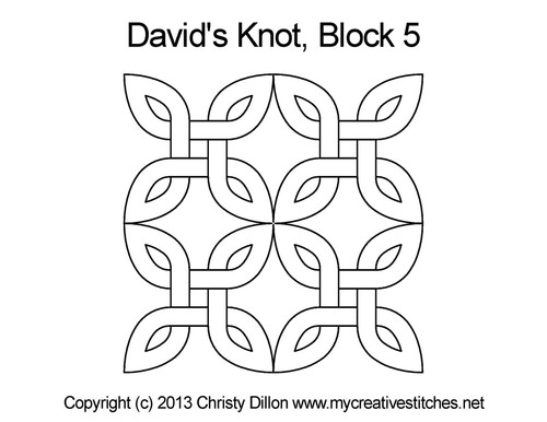 David's knot square block 5 quilting designs