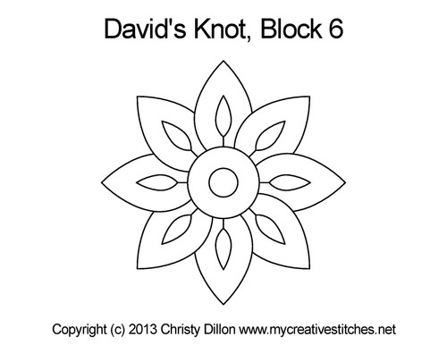 David's knot quilting pattern for block 6