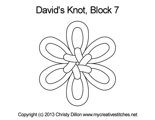 David's knot quilting pattern for block 7