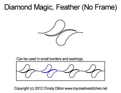 Diamond magic feather No Frame quilt pattern