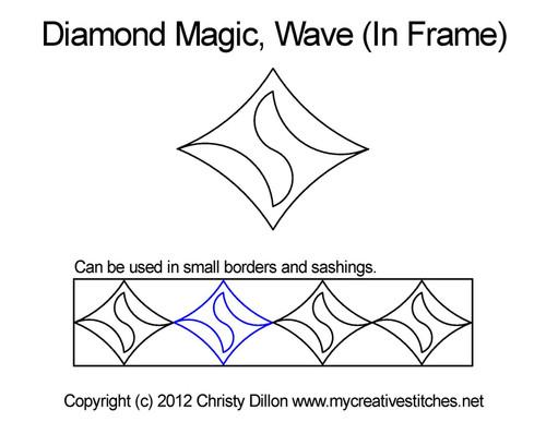 Diamond magic wave digital in frame quilt design