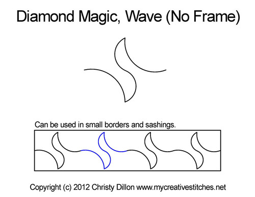Diamond magic wave No frame quilting pattern
