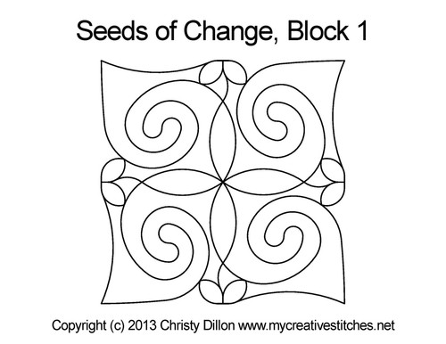 Seeds of change quilting pattern for block 1
