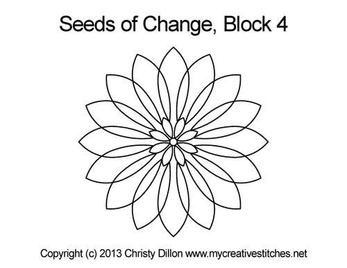 Seeds of change flower block 4 quilt design