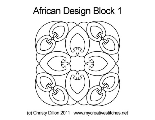 African design quilting pattern for block 1