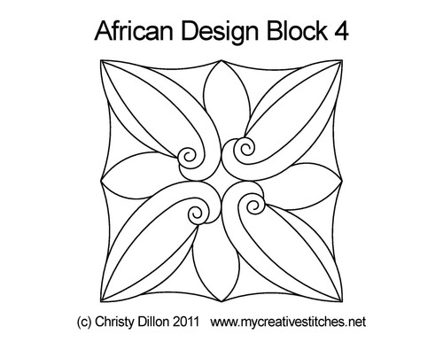 African design square block 4 quilt pattern