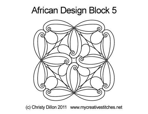 African design digitized block 5 quilt pattern