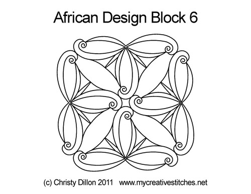African design computerized block 6 quilting