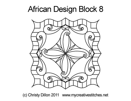 African design square block 8 quilt pattern