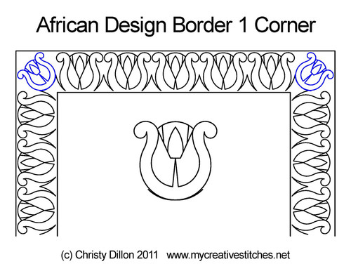 African design border 1 corner quilt pattern