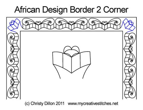 African design border 2 corner quilt pattern