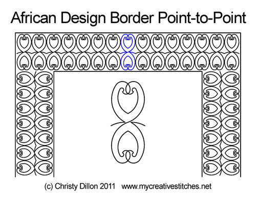 African design border p2p quilting pattern