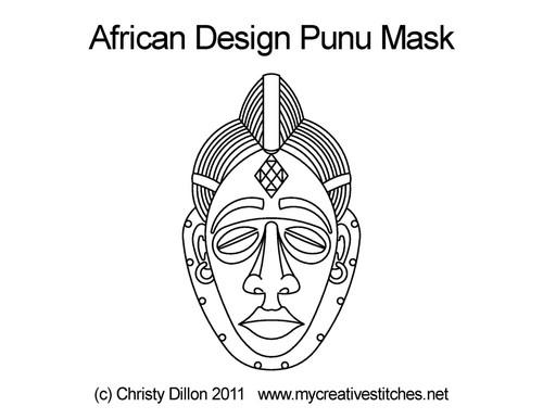 African design punu mask quilt pattern