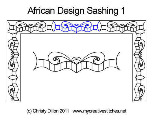African design digitized sashing 1 quilt pattern