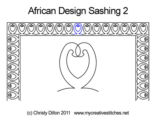 African design digitized sashing 2 quilt pattern