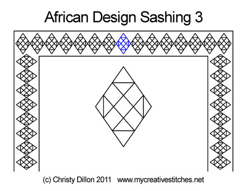 African design digitized sashing 3 quilt pattern